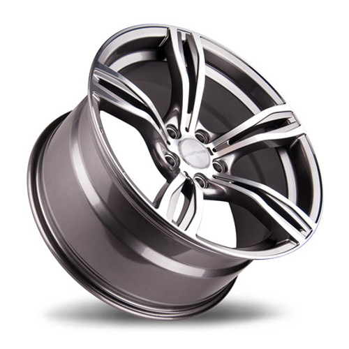 "19"" Avant Garde M355 5 Spoke Alloy Wheels Polished Silver with Gunmetal Inserts"