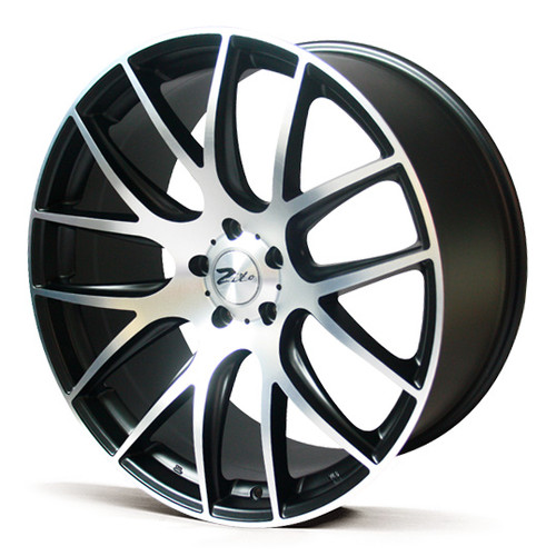 "19"" ZITO 935 CSL GTS ALLOYS, GLOSS BLACK WITH POLISHED FACE, VERY DEEP CONCAVE 9.5"" REARS"