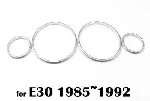 BMW E30 M3 Matt Brushed Silver Aluminium Cluster Gauge Rings