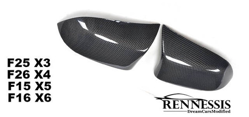 RENNESSIS X5M Look Carbon Fibre Replacement Mirror Covers for BMW F25 X3 F26 X6, F15 X5 & F16 X6 Series