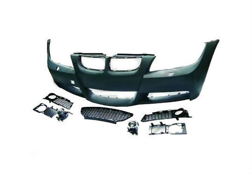 BMW E90 E91 MSport Look Front Bumper Kit Wth Headlight Washers System - Incuding meshes & fog lamps