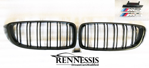 RENNESSIS Competition Gloss Black Kidney Grilles for BMW F80 M3, F82 & F83 M4 - FREE M3 or M4 Badges