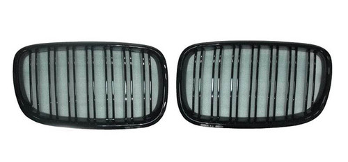 RENNESSIS M Inspired Gloss Black Kidney Grilles for BMW E70 X5 E71 X6 - With Double Slats