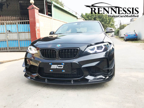 RENNESSIS 3D Look Carbon Fibre Front Splitter for BMW F87 M2 & M2 Competition