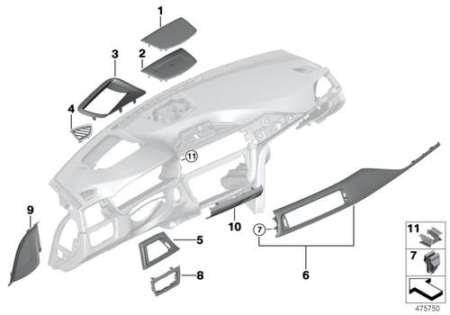Genuine BMW Carbon Fibre Interior DashTrim - RHD Passenger Side 51458057630 , F80 M3 LCI, F82 F83 M4 LCI