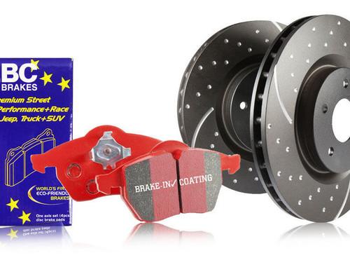 EBC Turbo Groove FRONT Brake Discs & RED Stuff Pad Set - F3X 328 330 335 340 with OE M Sport Brake