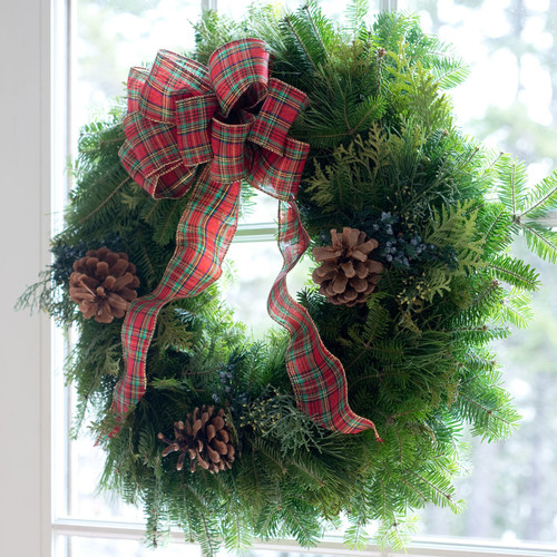 Country Plaid Fresh Christmas Wreath