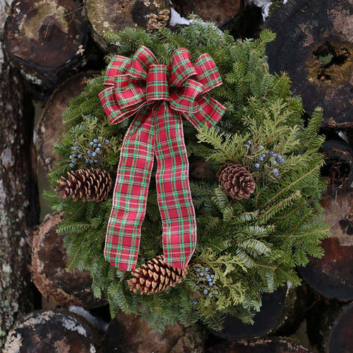 Country Plaid Christmas Wreath Traditional Wreath