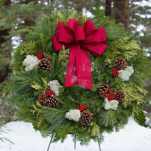 Fresh Winterberry Wreath with cranberry linen bow