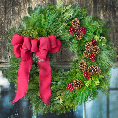 Cape Elizabeth Wreath - Mixed pine, cedar and fir.