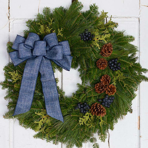 Bar Harbor Blueberry Fresh Christmas Wreath From Maine Free Shipping