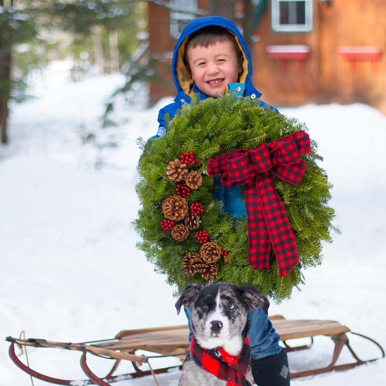 buffalo plaid christmas wreath - beautiful soft ribbon with lush balsam wreath
