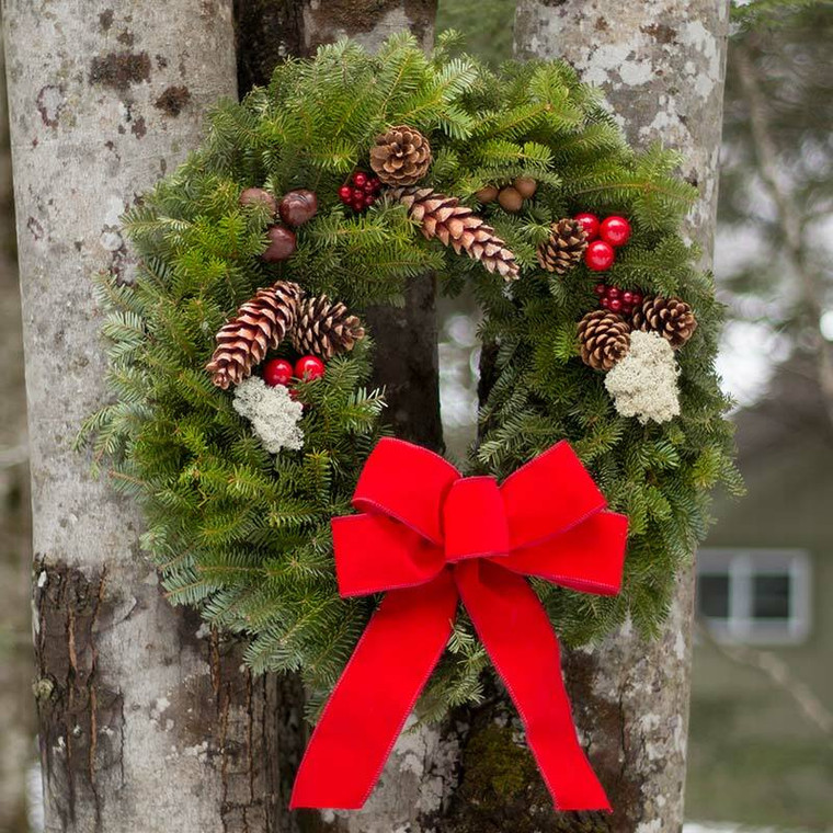 Original Fresh Christmas Wreaths For Sale made in Maine. Red Bow, Acorns Pine Cones, Reindeer Moss.
