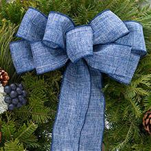 blue linen bow for christmas wreath