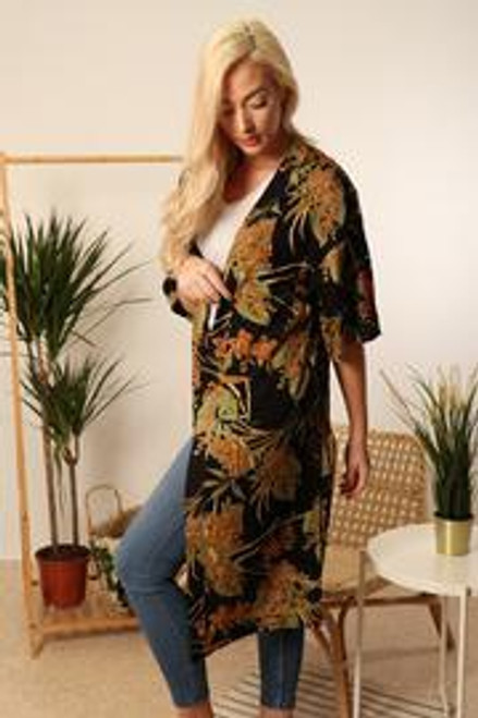 MSH Beach Cover Up 8312 Long - Mustard/Black