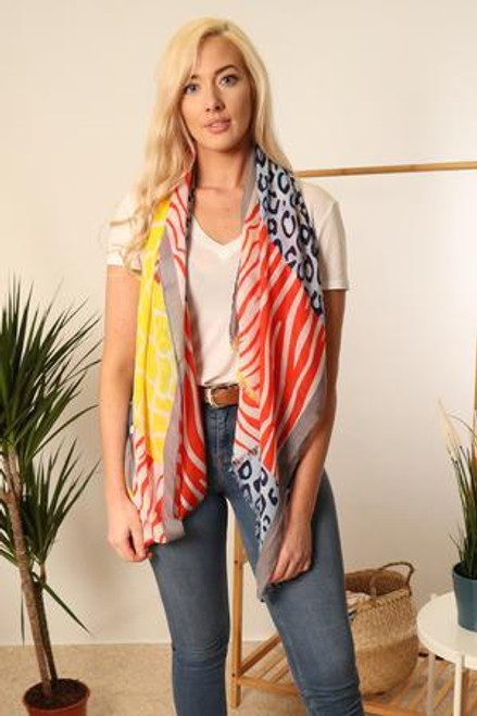 MSH Scarf 2877 - 100% Viscose - Blue/Red