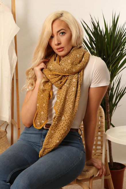 MSH Scarf 2906 - 100% Viscose - Mustard With Trim