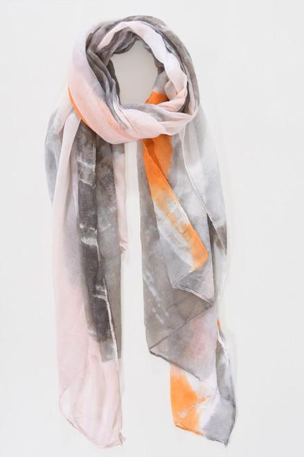 MSH Scarf 1266 - 100% Polyester - Grey/Orange