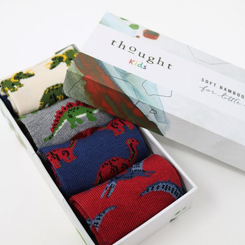 Thought Kids Dinosaur Soft Bamboo Socks - Gift Box of Four -Size 12-24 Months