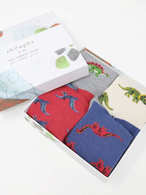 Thought Kids Gift Boxed Dinosaur Soft Bamboo Socks - Size 2-3 Years