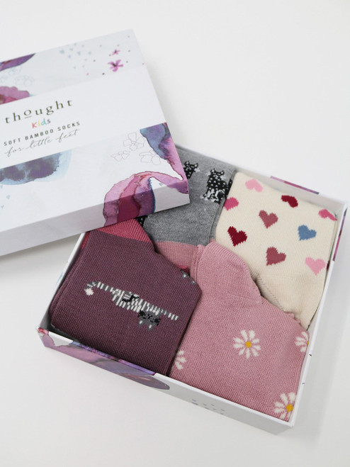 Thought Kids Gift Boxed Kitty Soft Bamboo Socks - Size 2-3 Years