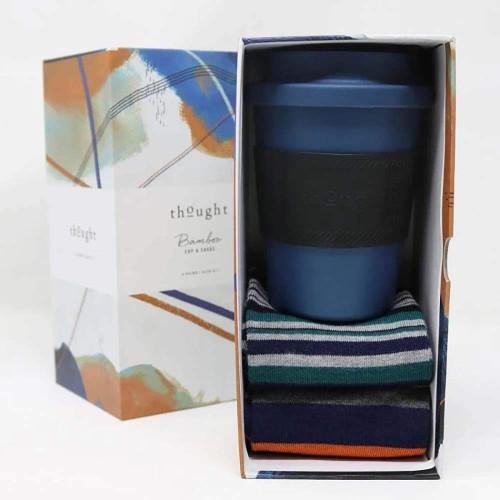 Thought Mens Gift Box Bamboo Sock and Coffee Mug Set - Denim Blue