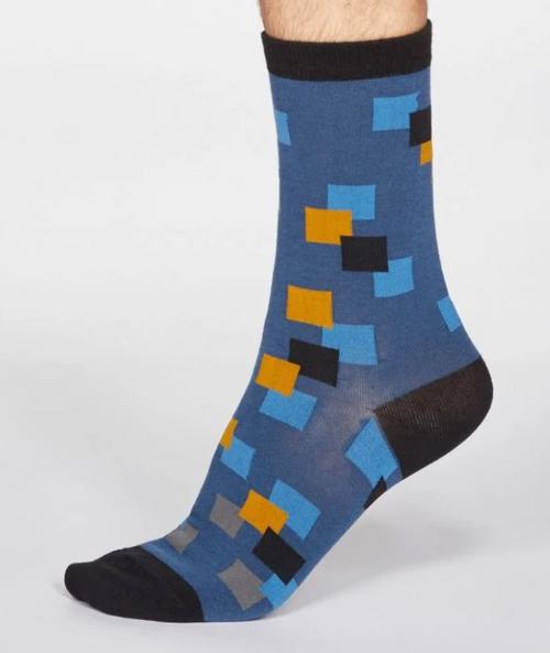 Mens Bamboo Square Print Socks