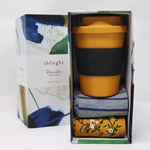 Thought Ladies Gift Boxed Bamboo Socks and Coffee Mug - Sunflower Yellow