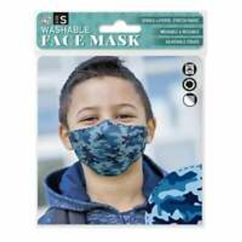 H&H  Blue Camouflage Small Face Mask No20 - 50% Off