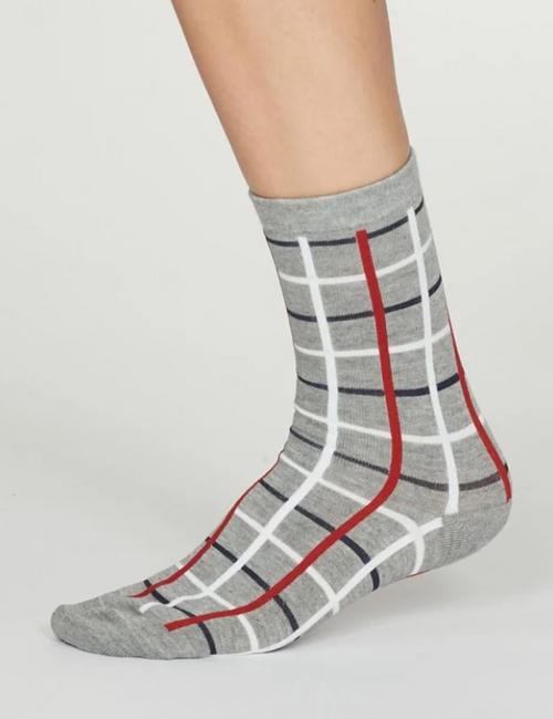 Ladies Bamboo Check Socks - Grey