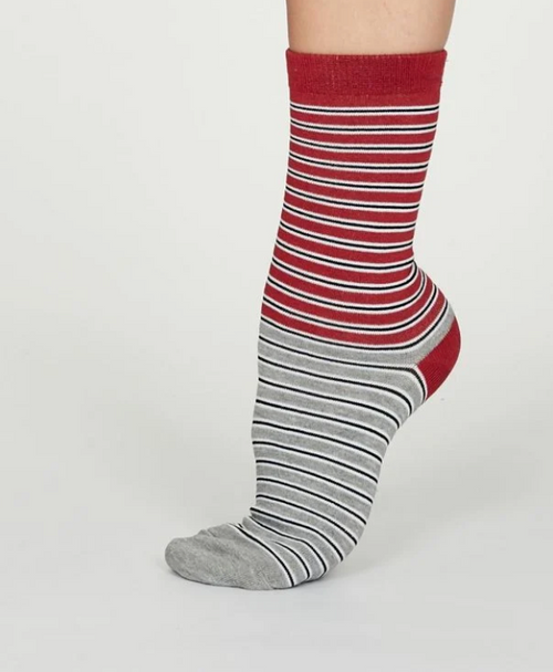 Ladies Bamboo Striped Socks - Red