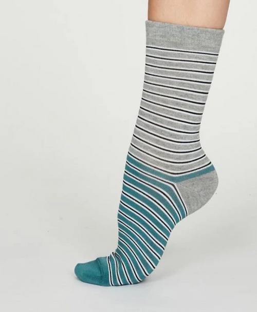 Ladies Bamboo Striped Socks - Grey