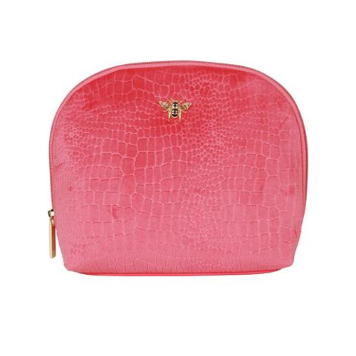 Alice Wheeler Large Velvet Embossed Makeup Bag - Pink