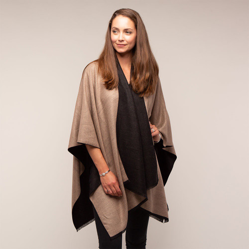Tilley and Grace Tess Wrap Black/Camel - NOW 50% OFF