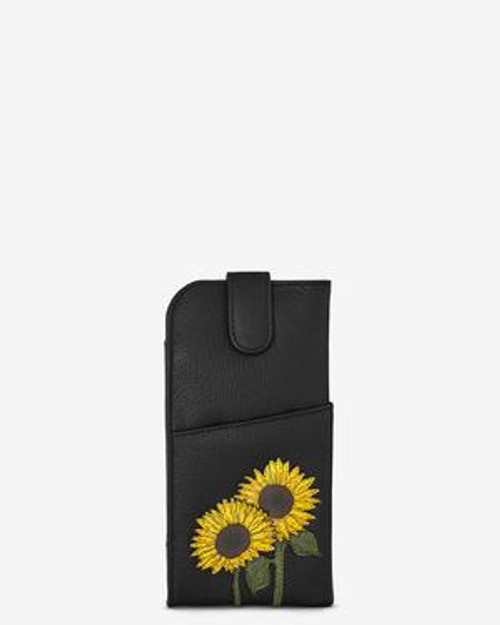 Yoshi Black Sunflowers Glasses Case