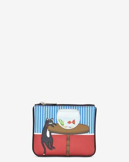 Yoshi Cat And Fish Ziptop Coin Purse Black