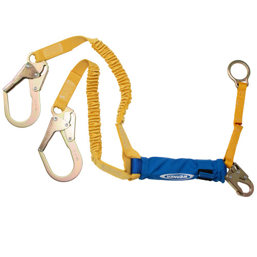 C446200 DeCoil Stretch Twinleg Lanyard w/D-Ring Extender (Snaphook/Rebar Hooks) - 6 Ft by Werner