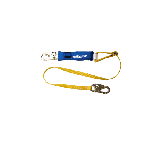 "C311102 6' DeCoil Adjustable Single Leg Lanyard (DCELL Shock Pack, Snaphook, 1"" Web) by Werner"