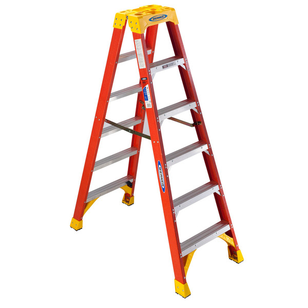 Werner T6200 Series Fiberglass Twin-Sided Stepladder // 300 lb Rated