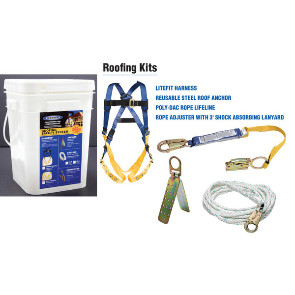 K111201 50ft Basic Roofing Kit with Pass-thru Buckle Harness contains all of the fall protection products necessary for safe working and code compliance for roofing application by Werner