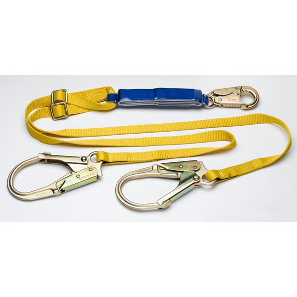 C411202 6 ft DeCoil Adjustable Twinleg Lanyard (DCELL Shock Pack, Snaphook, Rebar Hook, 1 in Web) by Werner