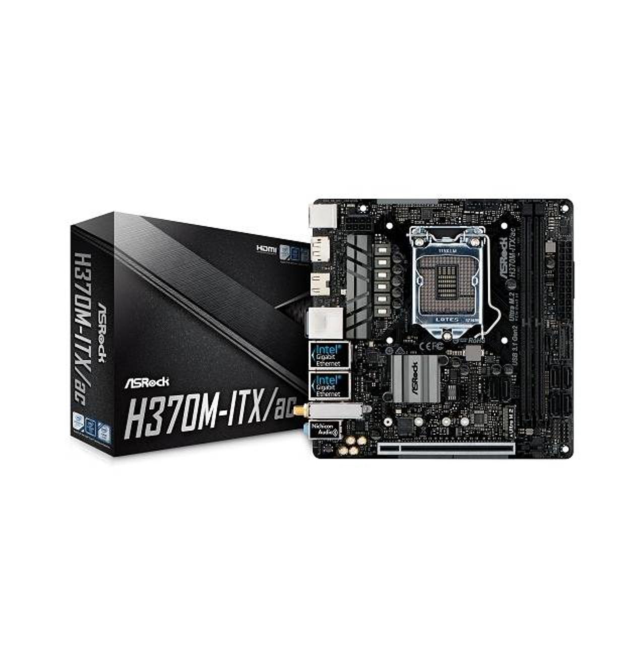 ASRock H370M-ITX/AC LGA1151/ Intel H370/ DDR4/ SATA3&USB3.1/ M.2/ WiFi/ A&2GbE/ Mini-ITX Motherboard New