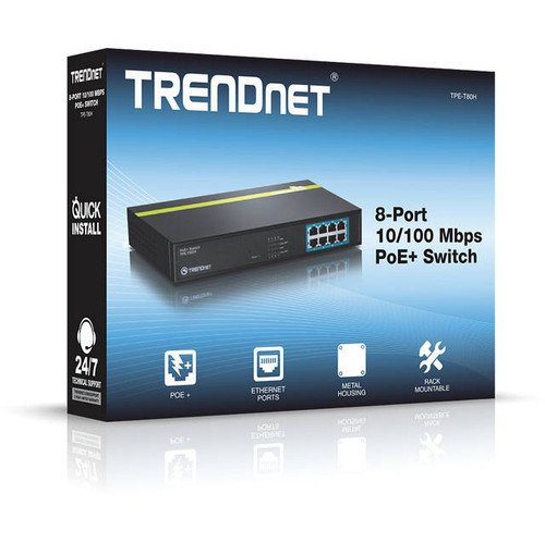 TRENDnet TPE-T80H 8-Port 10/100Mbps PoE+ Switch