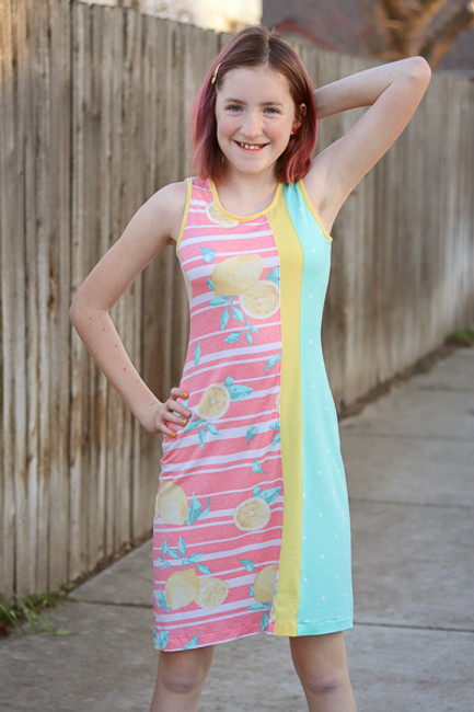 Girls knit tank dress with colour blocking.  Racerback or Angled back options.