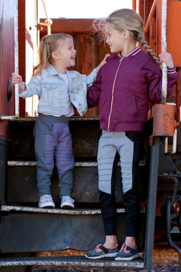 Moto pieced joggers with unique lines.  Girls PDF sewing pattern