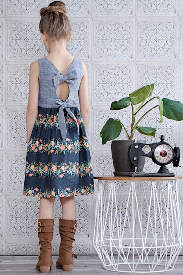 Tie back detail peplum top or dress.  Girls PDF sewing pattern