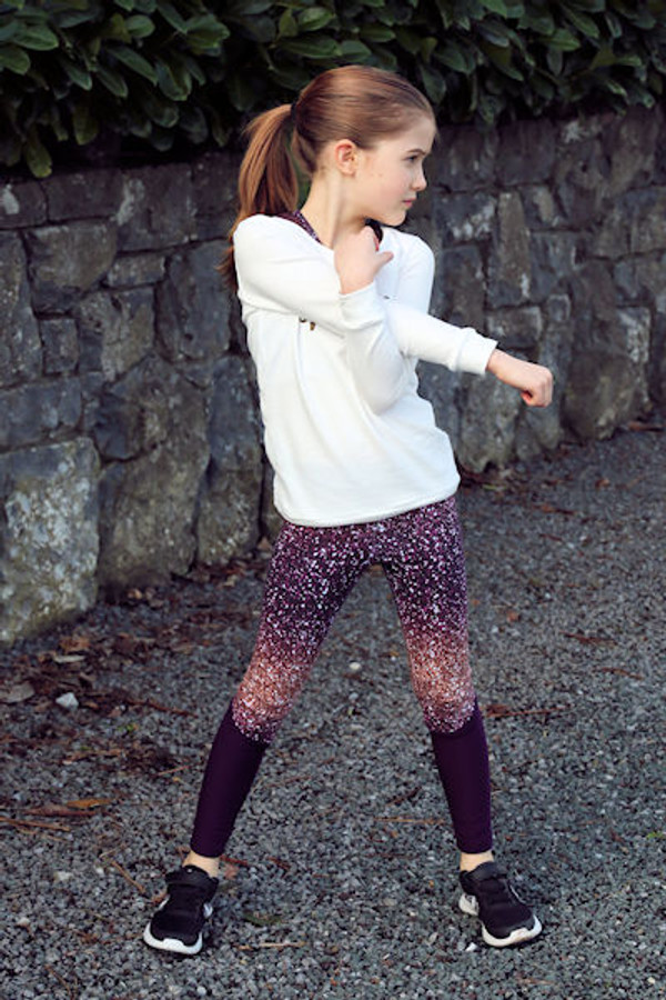 Great fitting athletic tights with optional piecing.  Girls PDF sewing pattern