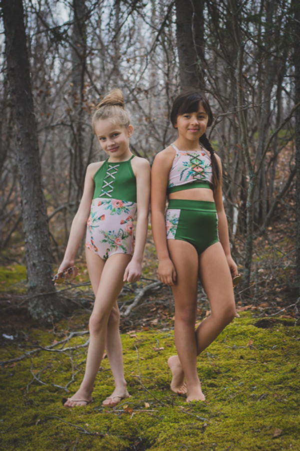 Modest One piece/Two piece swimsuit.  Girls PDF sewing pattern