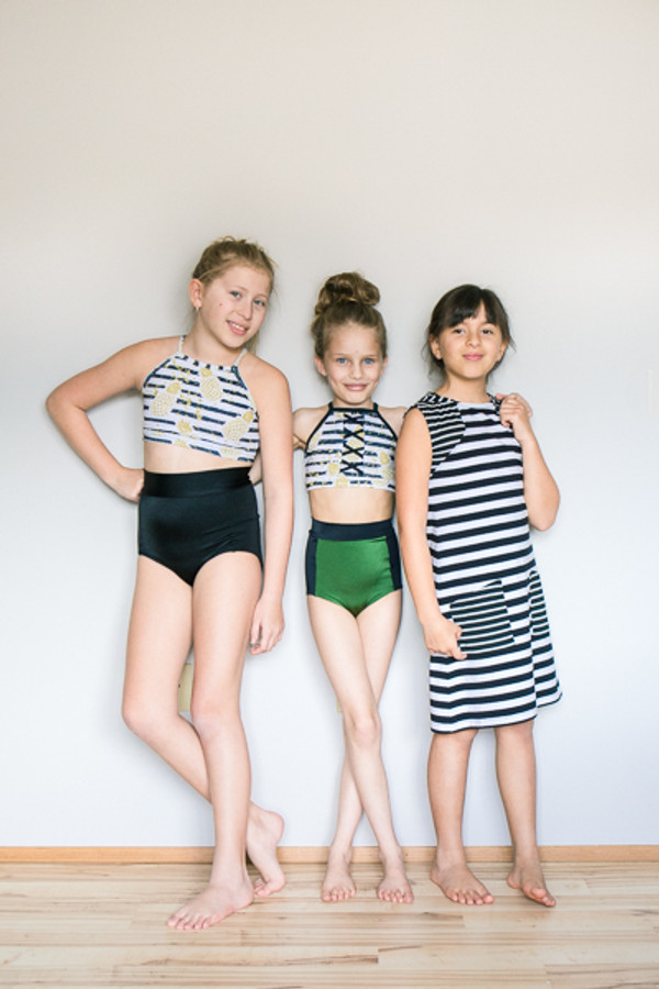 Modest, trendy one piece and two piece swimsuit and hooded swim cover dress/top.  Girls PDF sewing pattern