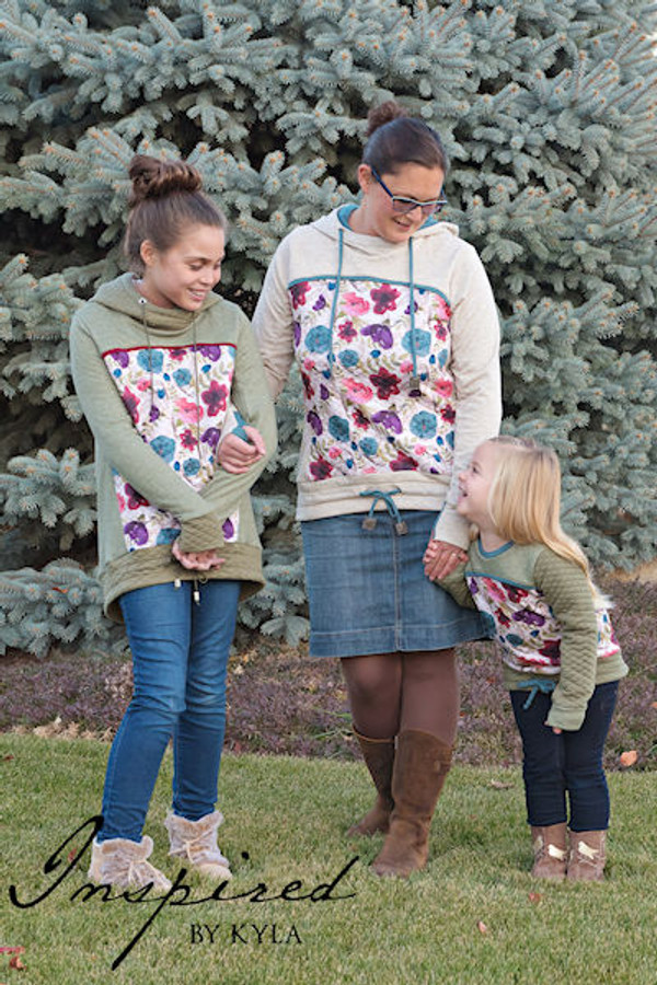 Hooded sweater PDF patterns for girls and teen/tween/adults